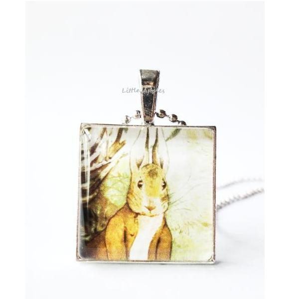 Benjamin Rabbit Easter Glass Tile Pendant Brown Bunny Keychain