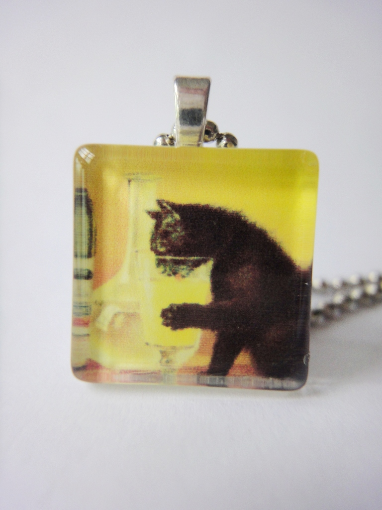 Vintage Pin Up Poster Cat Drink Wine Glass Pendant Animals