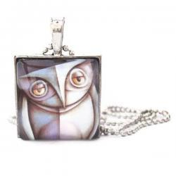 Artistic Abstract Owl Woodland Creature Square Glass Pendant Necklace or Keychain